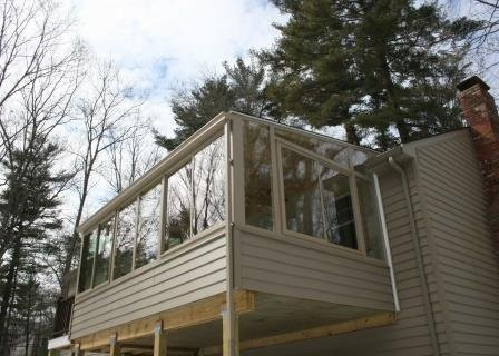 Massachusetts Exterior of Deck Enclosed to a Living Room Home Addition