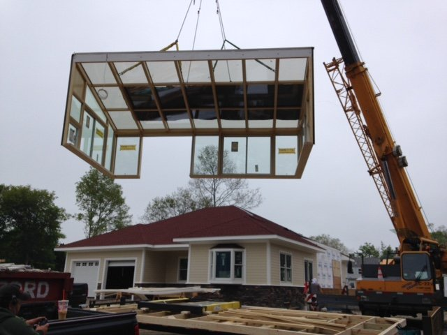Room Addition Installation by Crane - Installed in Just a Day